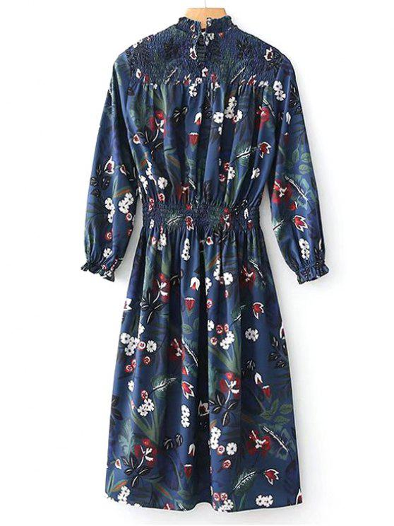 womens Long Sleeve Smocked Panel Floral Midi Dress - FLORAL L