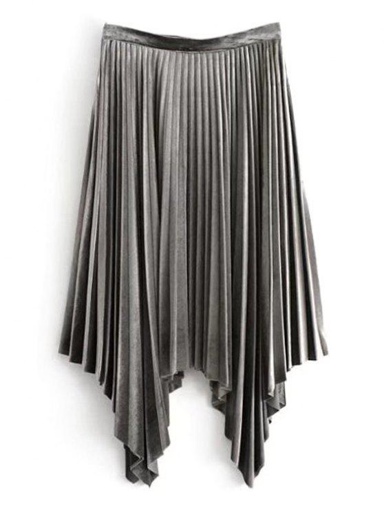 fancy Velvet Asymmetrical Pleated Skirt - GRAY L