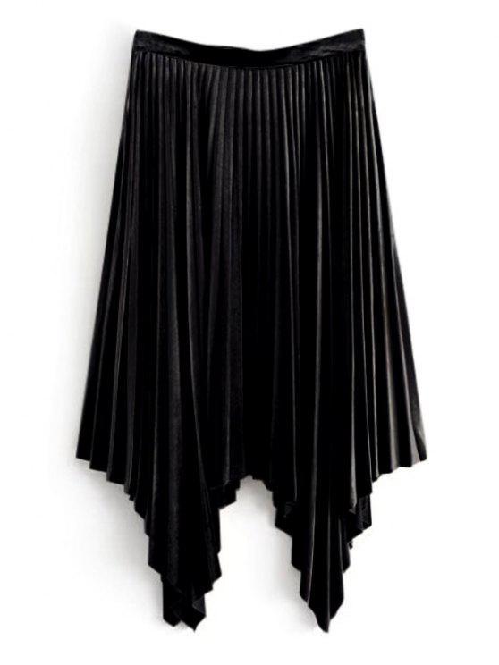 تنورة مطوي غير متماثل مخملي - أسود S
