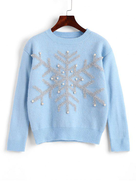women Beaded Christmas Snowflake Sweater - BLUE ONE SIZE