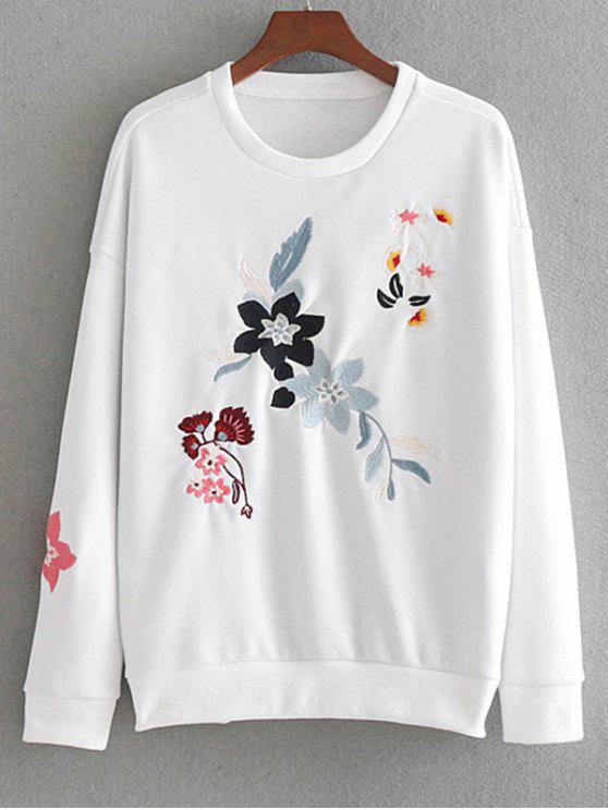 fashion Drop Shoulder Loose Floral Embroidered Sweatshirt - WHITE S