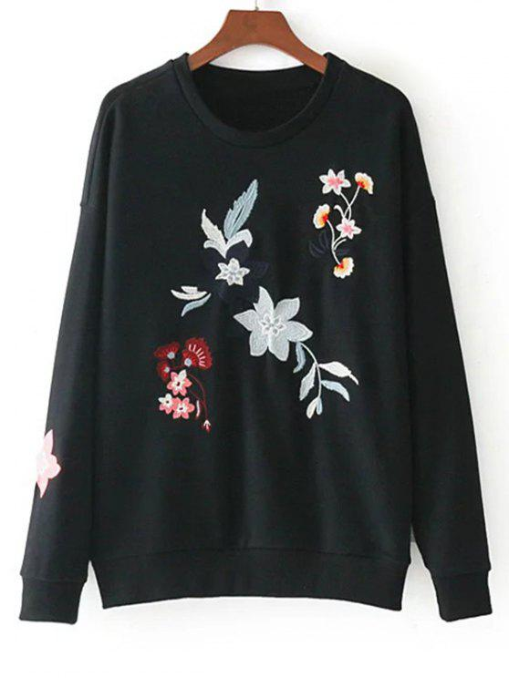 affordable Drop Shoulder Loose Floral Embroidered Sweatshirt - BLACK S