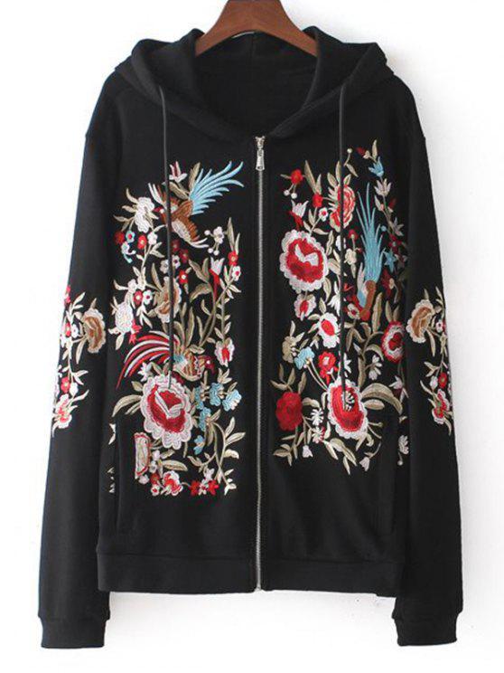 Drawstring zip up floral embroidered hoodie black