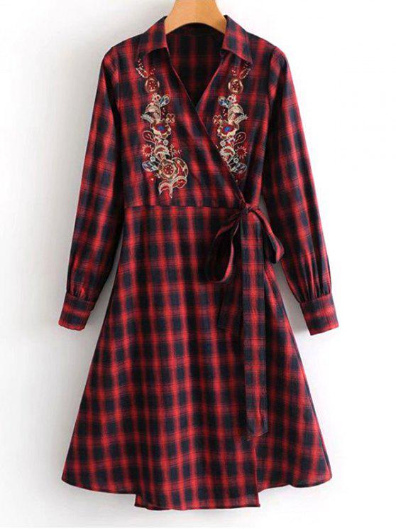lady Plaid Floral Embroidered Wrap Dress - CHECKED L