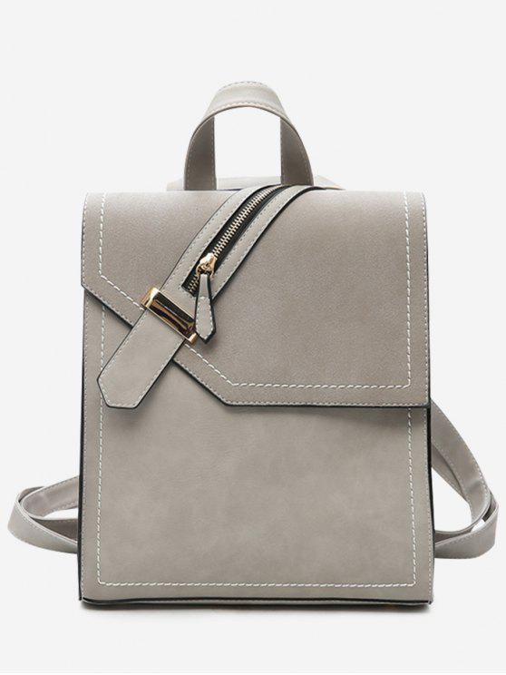 Faux Leather Stitching Front Zip Embellished Backpack - Cinza