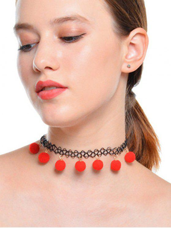 Collana girocollo con charm fuzzy ball tattoo - Nero & Rosso