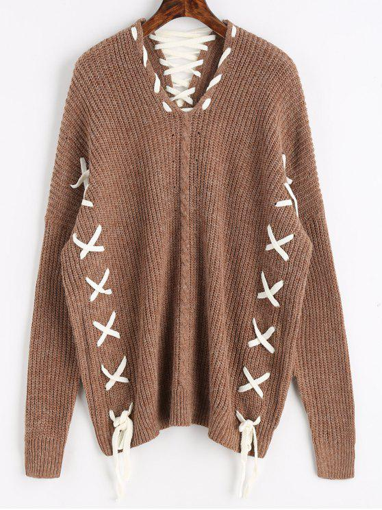 553b0f343d 29% OFF  2019 Oversized Contrasting Lace Up Sweater In DARK KHAKI ...