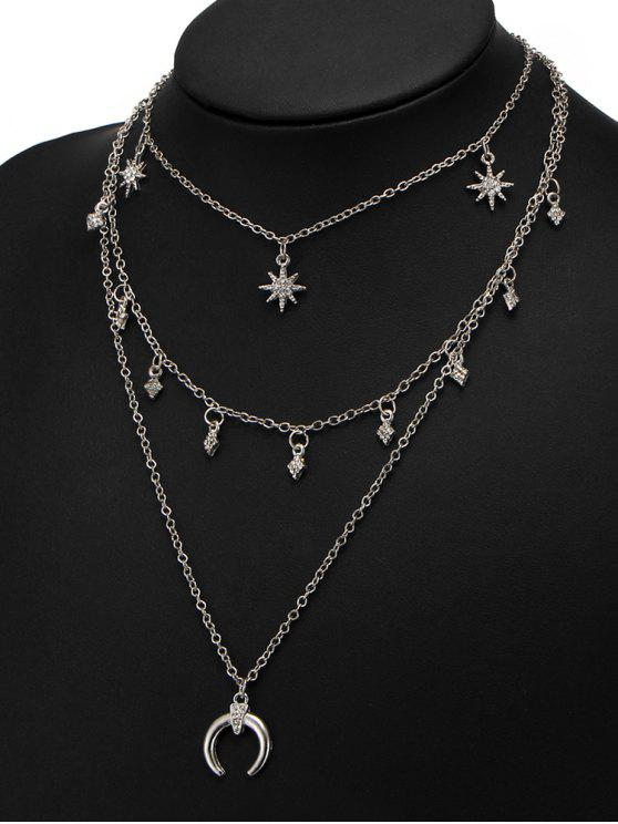 Collana Tribale A Strati Con Diamante Artificiale E Motivo A Sole E Luna - Argento