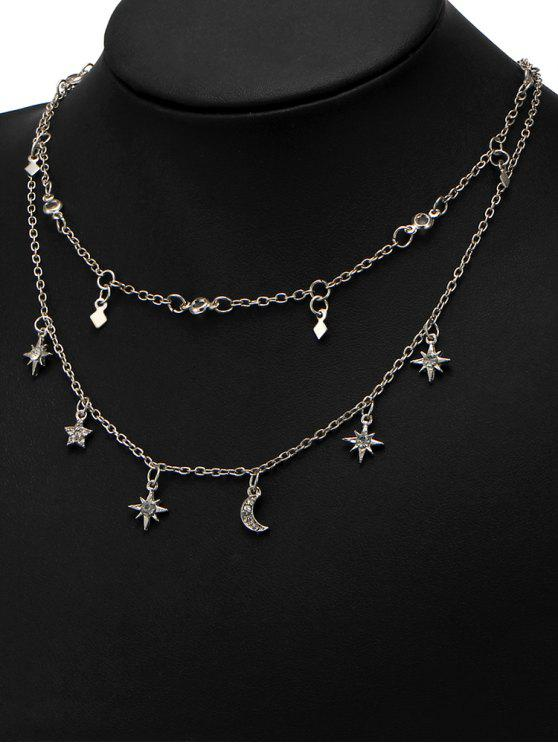 outfits Star Moon Charm Chain Necklace Set - SILVER