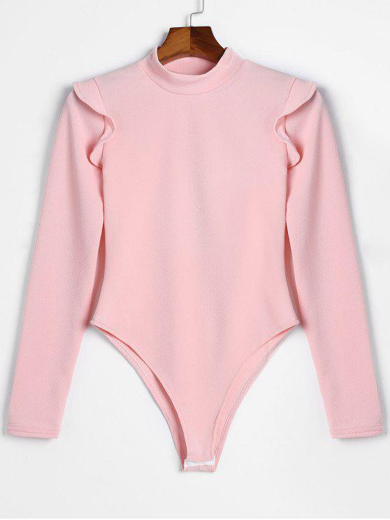 trendy Long Sleeve Skinny Ruffles Bodysuit - PINK M