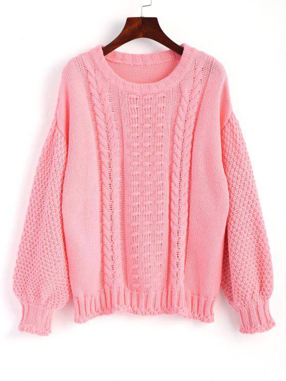women's Cable Knit Lantern Sleeve Sweater - PAPAYA S