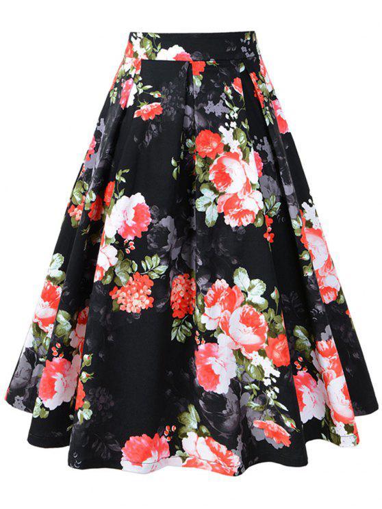 الأزهار طباعة مطوي ألف خط خمر تنورة - أسود L