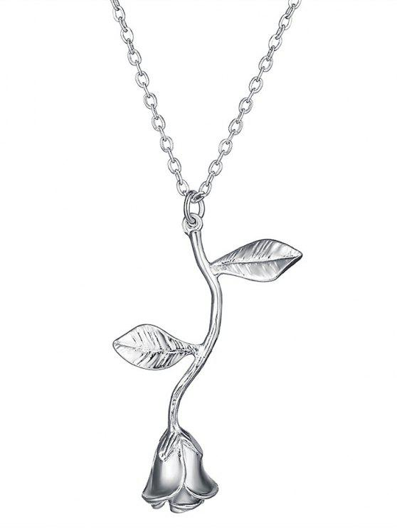 Rose Blume Anhänger Halskette - Silber