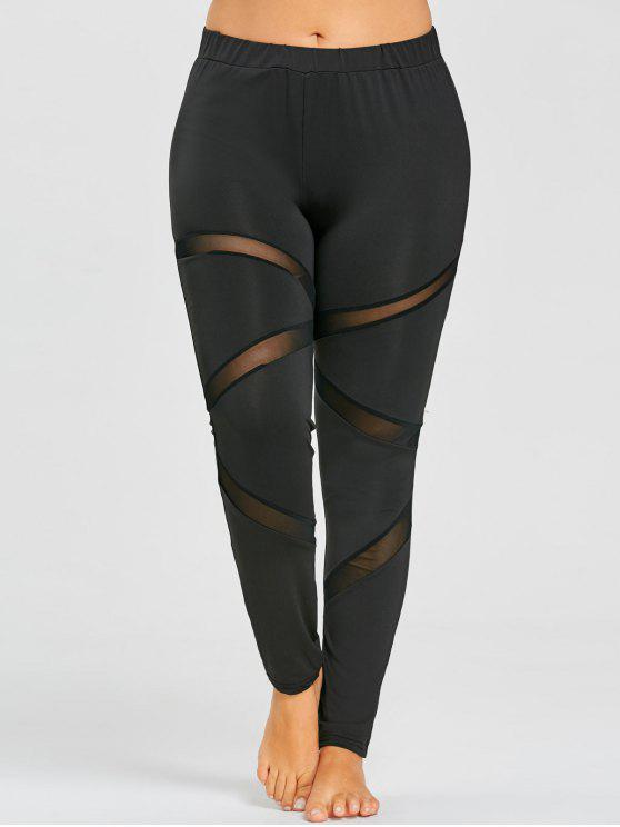 83cd4992e7d994 25% OFF] 2019 Plus Size Sheer Mesh Panel Workout Leggings In BLACK ...