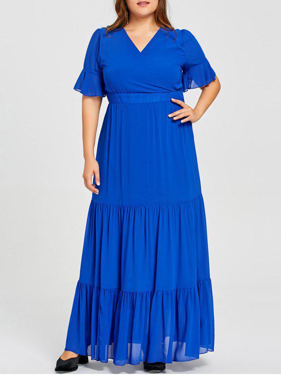 فستان الحجم الكبير جرس الأكمام - أزرق 4XL