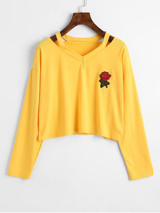 trendy Cold Shoulder Rose Embroidered Patches Sweatshirt - YELLOW L