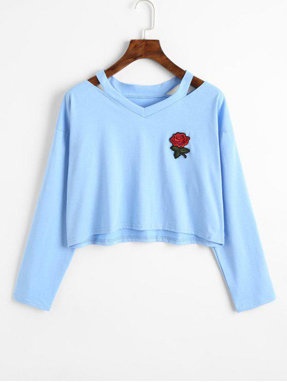 lady Cold Shoulder Rose Embroidered Patches Sweatshirt - LIGHT BLUE S