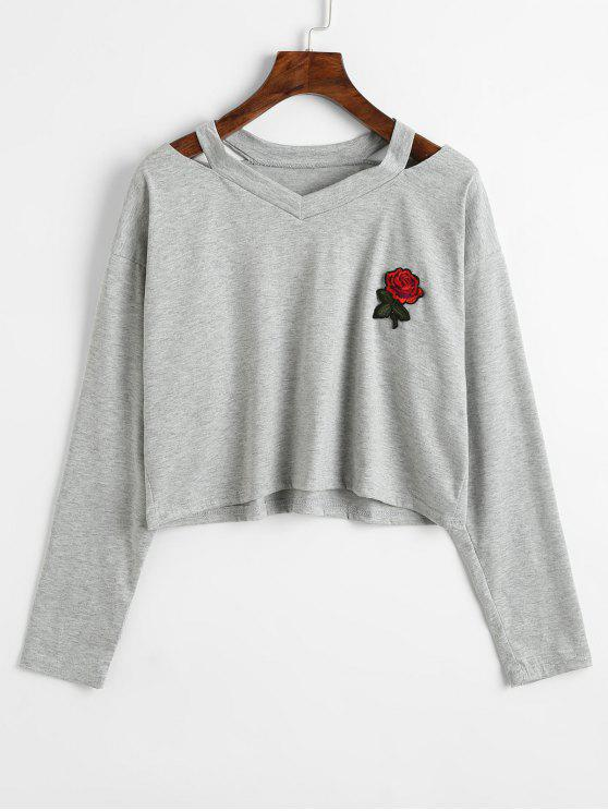 hot Cold Shoulder Rose Embroidered Patches Sweatshirt - GRAY L