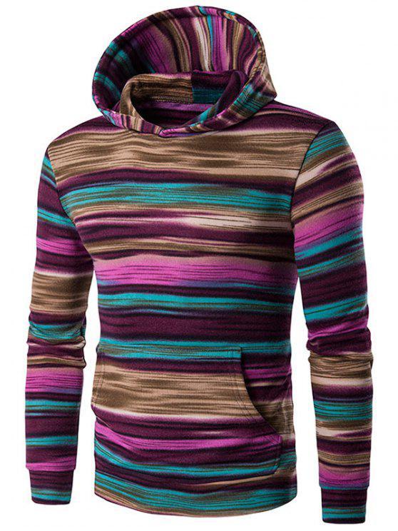 womens Irregular Stripe Kangaroo Pocket Pullover Hoodie - PURPLE L