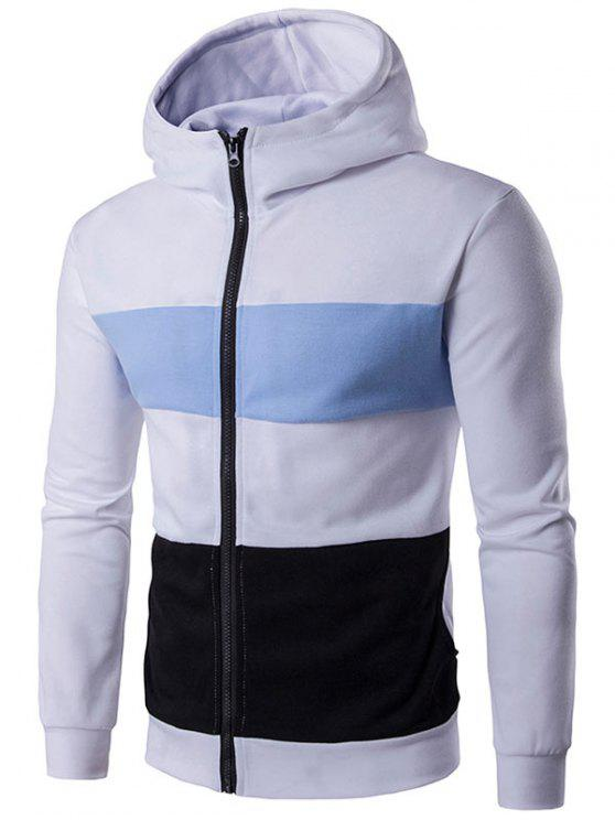 Hoodie de fecho de correr completo de bloco de cores - Branco 2XL