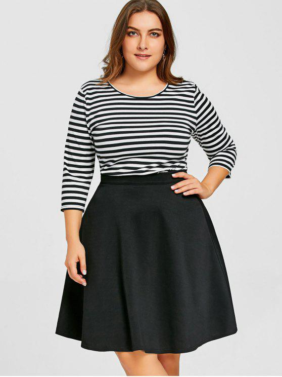 ladies Plus Size Striped Top with Skirt - BLACK 2XL