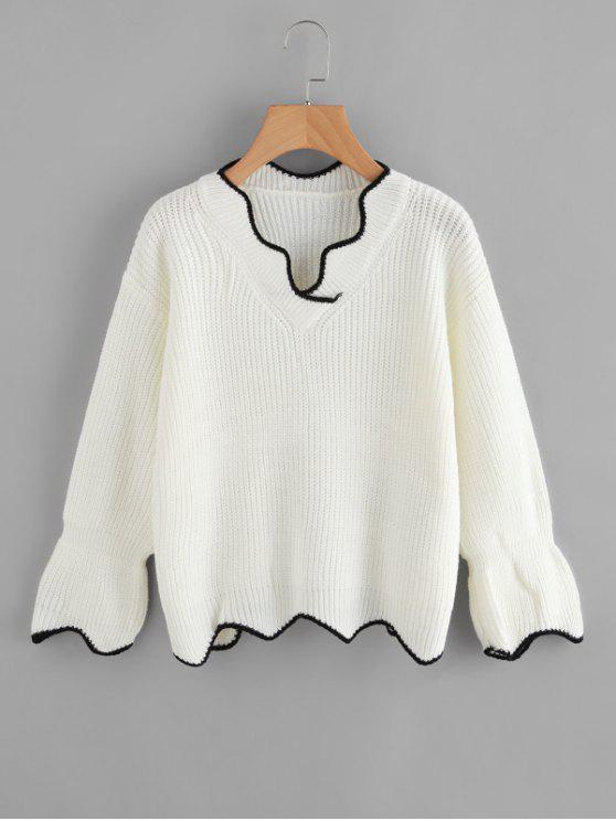 hot V Neck Contrasting Scalloped Sweater - WHITE ONE SIZE