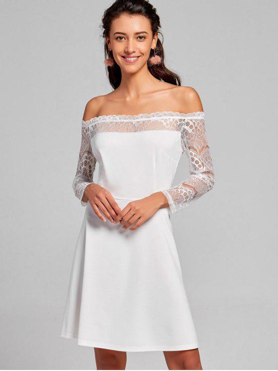 Schulterfreies Spitze Flare Kleid - Weiß M