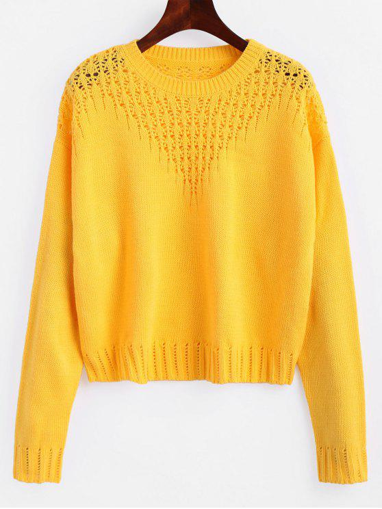 fancy Hollow Out Crop Sweater - YELLOW S