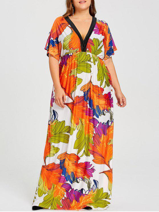 فستان الحجم الكبير طباعة الورقة عالية الخصر - الأصفر 4XL