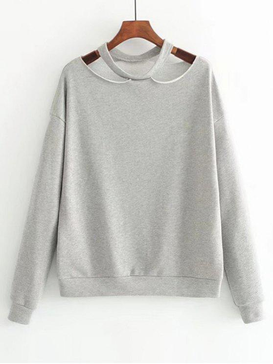 buy Loose Cotton Cut Out Sweatshirt - GRAY M