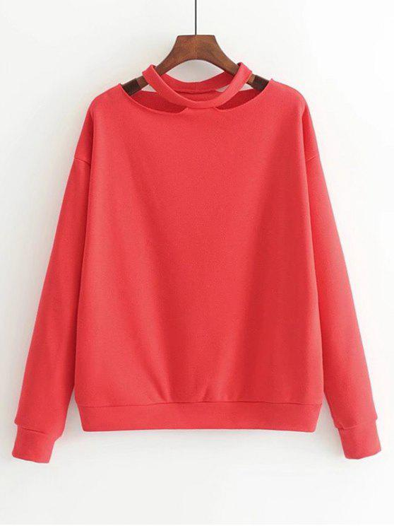 best Loose Cotton Cut Out Sweatshirt - RED S