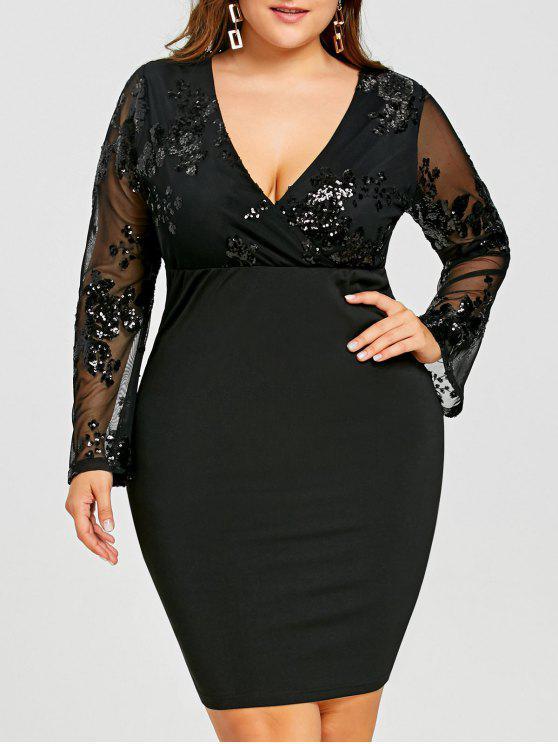 فستان الحجم الكبير شبكي مطرز - أسود 5XL