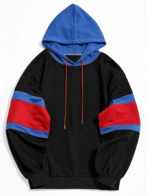 affordable Kangaroo Pocket Color Block Hoodie Men Clothes - BLACK L