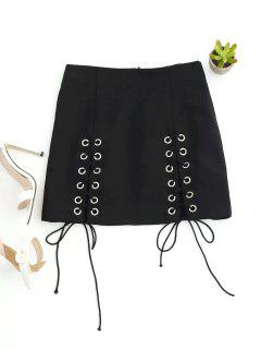 Punk Lace Up Mini Skirt - Black L