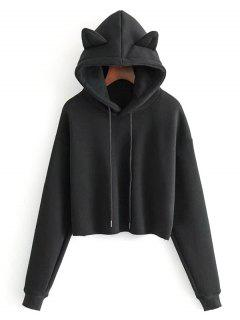 Plain Cat Cropped Hoodie - Black M