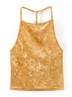 Open Back Velvet Tank Top - Golden Yellow M