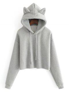 Plain Cat Cropped Hoodie - Gray S