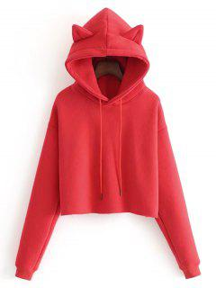 Plain Cat Cropped Hoodie - Red M
