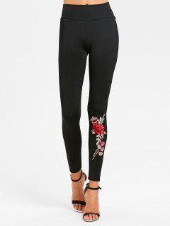 Floral Patched High Waist Leggings - Black L