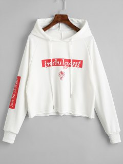 Letter Tunic Pullover Hoodie - White L