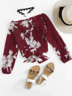 Floral Print Crop Wrap Blouse - Wine Red