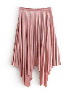 Velvet Asymmetrical Pleated Skirt - Pink S