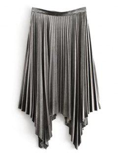Velvet Asymmetrical Pleated Skirt - Gray L