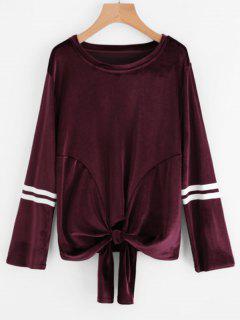 Gestreiftes Bowknot Hem Velvet Sweatshirt - Weinrot L