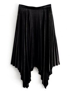 Velvet Asymmetrical Pleated Skirt - Black M