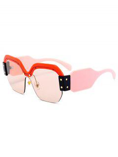 Anti UV Semi-Rimless Decoration Square Sunglasses - Red