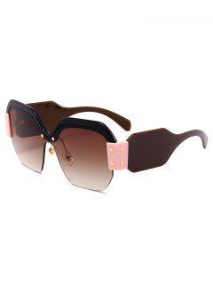 Anti UV Semi-Rimless Decoration Square Sunglasses - Tea-colored