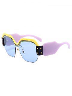 Anti UV Semi-Rimless Decoration Square Sunglasses - Light Blue