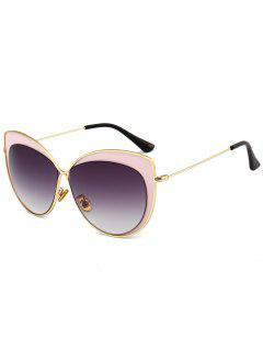 Anti UV Metal Frame Cat Eye Sun Shades Sunglasses - Black And Pink