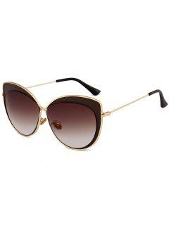 Anti UV Metal Frame Cat Eye Sun Shades Sunglasses - Tea-colored